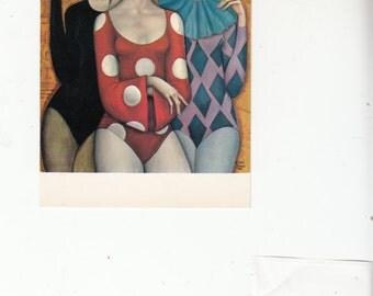 C1962 Big Eyed Women Wearing  Harleqiun Tutu Style Costumes,Unused postcard
