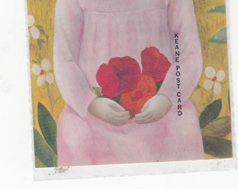 Big Eyed Girl In Pink Holding Luscious Flowers,Pretty Background 1965 Postcard