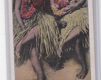 A Beautiful Color Tinted Hula Dancers, Hawaiian Islands, Unused Postcard