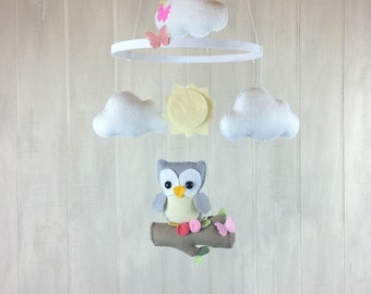 Baby mobile - owl mobile - tree branch mobile - cloud mobile - flower mobile - handmade baby mobile - owl nursery