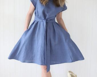 Linen Dress With Wide Skirt   Women Dress With Waist Ribbon   Oversized Dress   Women dress   Long Wide Dress   Date Dress