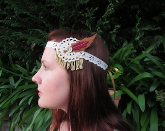 Boho headband, felt feather headband, wedding headband, boho wedding, vintage style headband, hair accessories, fancy dress, photo prop