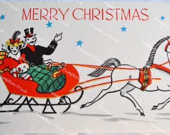 Vintage Christmas Card - Merry Christmas Horse Sleigh Couple - Used