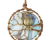 Bronze Owl Necklace with Aqua and Lavender Agate Moon