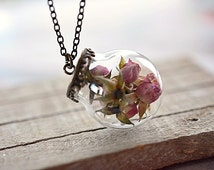 Real rose necklace Dried flower glass globe pendant Real flower necklace Romantic jewelry gift for her Terrarium necklace Nature pendant
