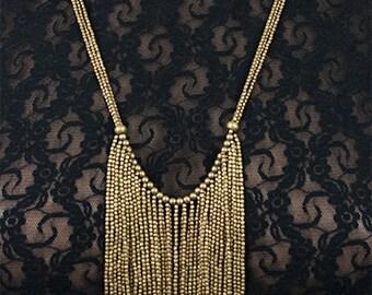 Tribal Ethnic Boho beaded brass necklace (0011)