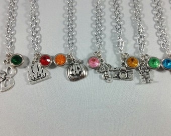 RWBY Inspired Mini Jewel & Charm Necklaces / Team CRME + Neo, Sun, Neptune, Velvet, and Penny