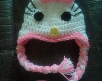 Crochet Hello Kitty inspired hat