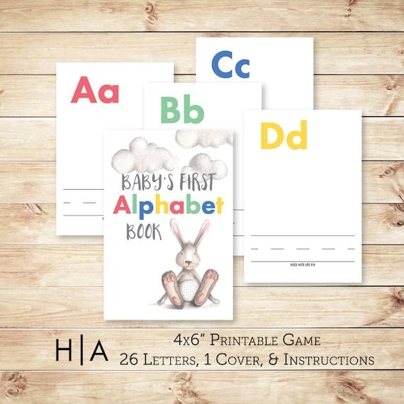 alphabet game baby shower diy abc book 4x6 baby 39 s first alphabet bo
