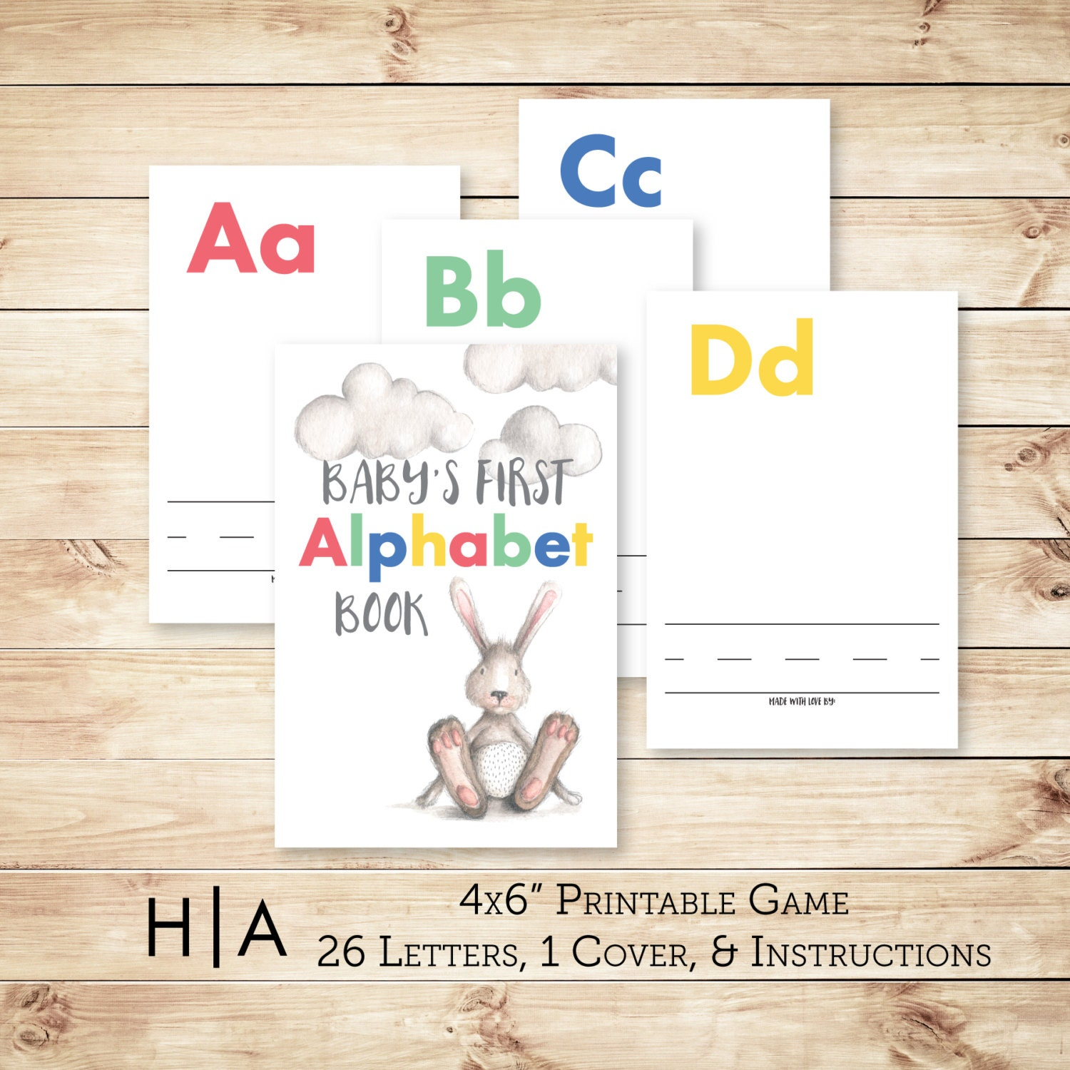 Alphabet Game Baby Shower DIY ABC Book 4x6 Baby's