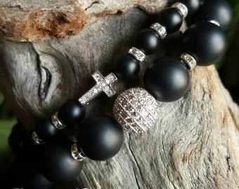 Onyx Beaded Stretch Bracelet Duo with Micro Pave Bead & Micro Pave Cross Bead *FREE SHIPPING*