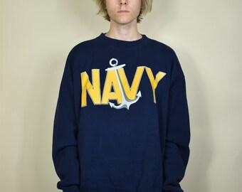 Vintage Blue and Yellow US Navy Sweatshirt