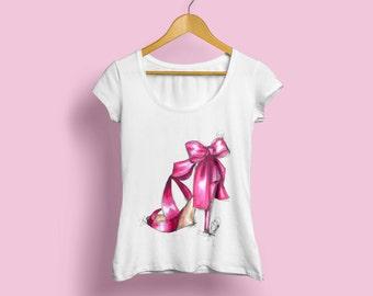 Pink shoe Fashion Shirt, Printed Shirt, Personalized Shirt, Custom Made T-shirt, women clothing, High heels shirt, Heels womens tee