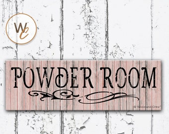 """POWDER ROOM Sign, 5.5""""x17"""" Shabby Chic Wood Sign, Bathroom Distressed Sign, Housewarming Gift, Rustic Pink Bath Sign,  Made To Order"""