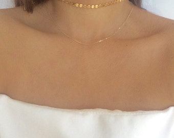 Coin choker, gold choker, sequin choker, coin necklace, dainty gold choker, gold choker necklace, choker necklace, silver choker, dainty