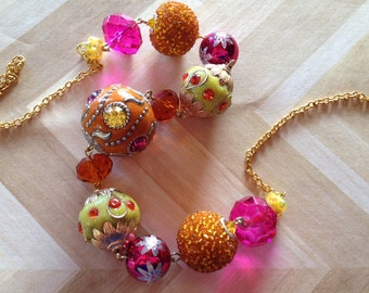 Orange, Yellow and Fuschia Beaded Necklace, Beadwork Necklace, Beaded Necklace, Glass Necklace, Gift For Her, Statement Necklace