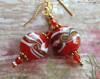 Lampwork Beaded Earrings, Lampwork Earrings, Red Earrings, Gift For Her, Dangle Earrings, Glass Earrings