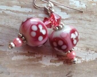 Pink Lampwork Earrings, Glass Earrings, Lampwork Glass, Gifts for Her, Jewelry, Dangle Earrings