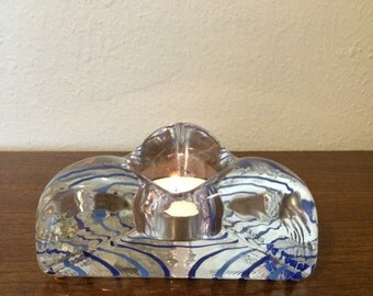 Signed Kosta Boda Blue and Silver Piece of Cake Handpainted Vintage Candleholder 1980s Ulrica Hydman-Vallien