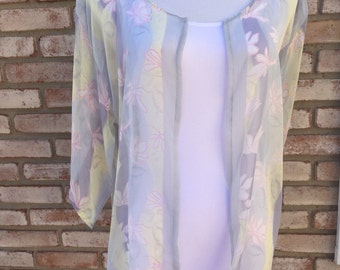 Kimono, Yellow Gray, Kimono Cardigan, Kimono Jacket, Boho Women's, Boho Bride, Beach Coverup, Women's Gifts, Baby Shower,