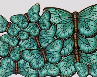 Teal Butterfly Stickers