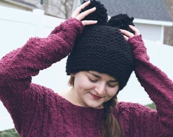 double pom pom knit handmade seamless beanie bear hat | the kuma | black