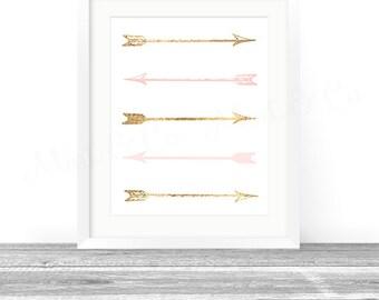 Arrows Art Print, Arrows Wall Decor Digital Printable Instant Download Pink Gold Tribal Nursery Home Office Kids Artwork Poster 8x10 11x14