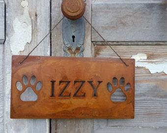 Dog Sign, Pet Name, Customized Metal Sign, Rustic Pet Signs, Rustic Home Decor, Pet Name Signs, Rustic Decor, Dog Name Signs, Dog decor