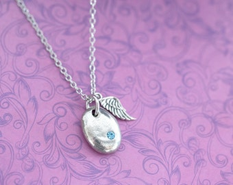 Cremation Pendant - Pewter Memorial Stone with Ashes - Cremation Jewelry - Urn Necklace - Pet Memorial - Ash Necklace - Aquamarine
