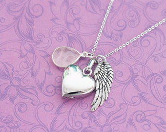 Rose Quartz Memorial Pendant with Angel Wing - Cremation Jewelry - Engraved Jewelry - Urn Necklace - Pet Memorial - Ash Necklace