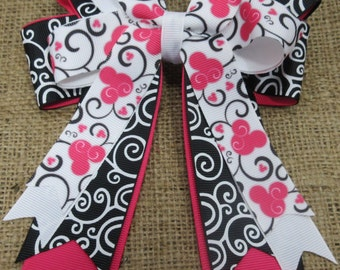 Minnie Mouse on Black Stacked Tails Down Hair Bow, Cheer Bow