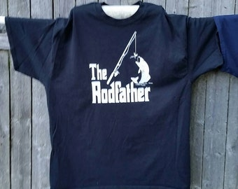 Men's shirt with The Rodfather fishing pole, lure and jumping fish