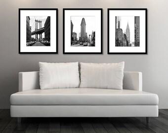 SALE, New York Print Set, Black and White Prints, New York City Photography, Set of 3 Prints, NYC, Manhattan Bridge, Flatiron, Chrysler