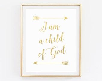 Bible Verse, Nursery Wall Art, Children, Nursery Decor, I am a Child of God, Arrow nursery, Nursery Bible Verse, Christian