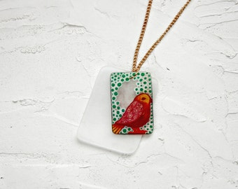 Charm necklace, Layered necklace, Boho necklace, Shrink plastic necklace, Statement necklace, Bird, pink, green, white yellow