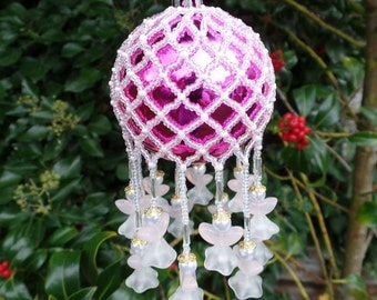 Christmas tree bauble - handmade bauble - angel bauble - christmas Angel - christmas decoration - pink bauble - beaded bauble