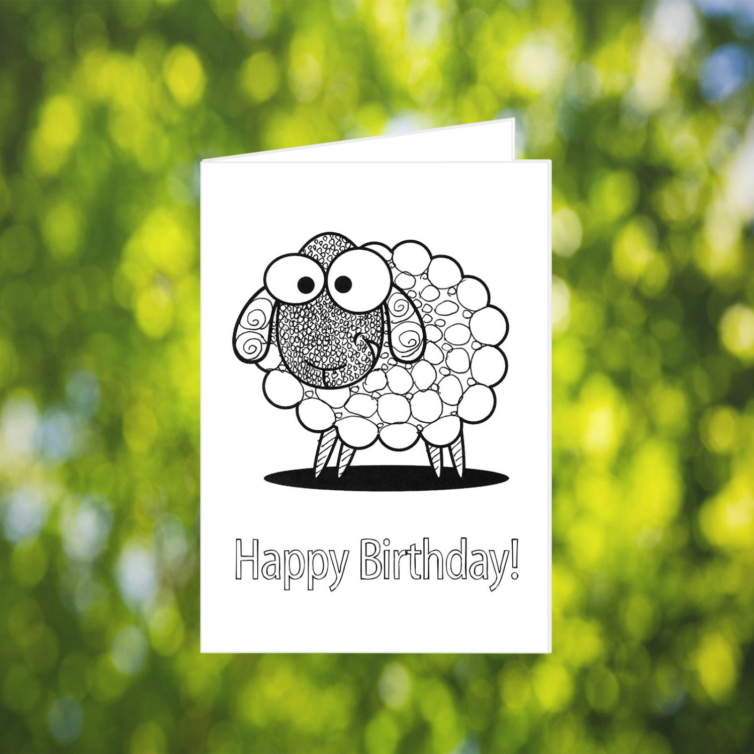 Zentangle Sheep Card: Printable Birthday Card Sheep Birthday