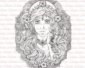 digital stamp beautiful gypsy portrait esmeralda indian arabic pattern flowers baroque - Coloring Pages Beautiful Angels
