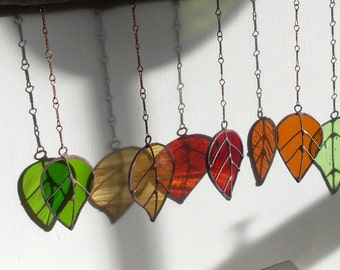 "Stained Glass Sun Catcher 'Spring Leaves' Hanging Wind Chime/Mobile Window Glass Art. Natural Wood Branch.Birthday Gift 12""x 12"" OOAK"