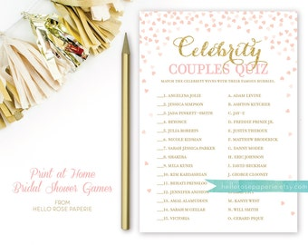 Celebrity Couples Quiz . Pink and Gold Bridal Shower Games . Blush Pink and Gold . DIY Printable Bridal Shower Game Glitter Confetti Hearts