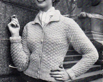 "vintage ladies cardigans knitting pattern pdf womens fitted jacket collar 34-38"" aran worsted 10ply womens knitting pattern pdf download"