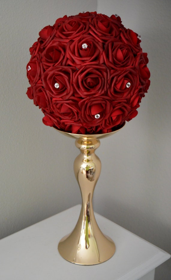 Deep red flower ball with rhinestone accent