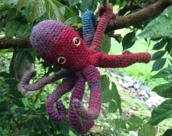 Realistic Crochet Octopus Toy With Bendable Tentacles- Color: Ruby, Sea Creature Stuffed Animal (Red and Blue)