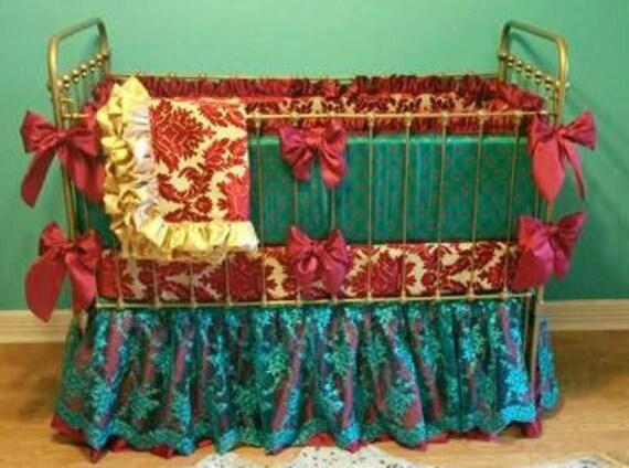 Custom Jewel Tone Nursery Baby Crib Bedding Damask Red Gold by ...