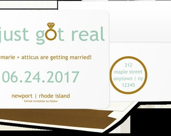 DIGITAL: It just got real Save the Date, Funny Wedding Announcement, Bachelorette Party Invitation, Engagmenet Party Invitation, STD