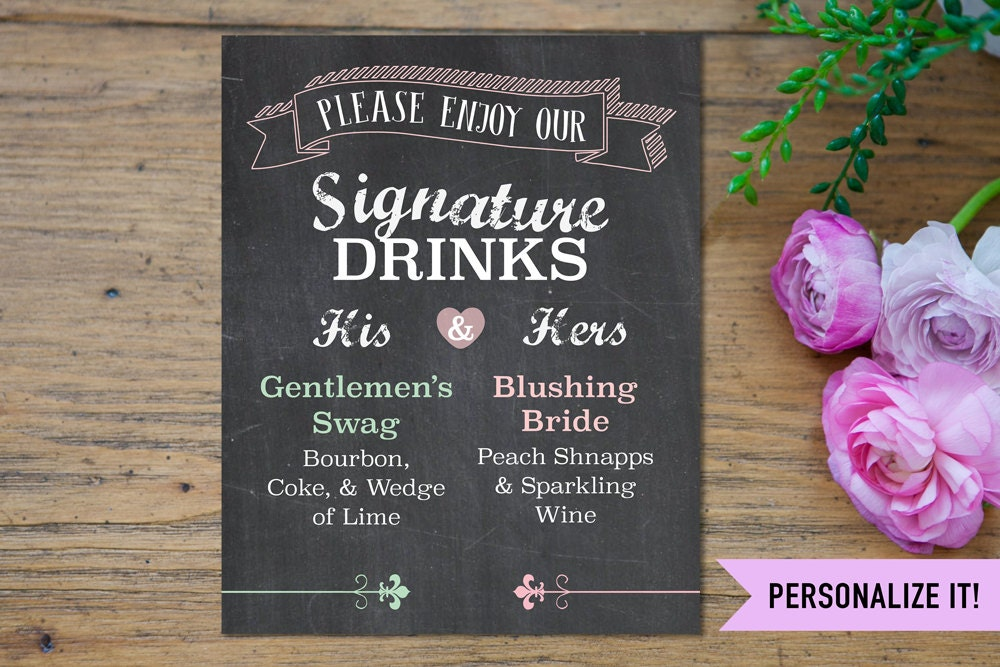 Signature drink sign wedding signature drink sign his and zoom junglespirit Gallery