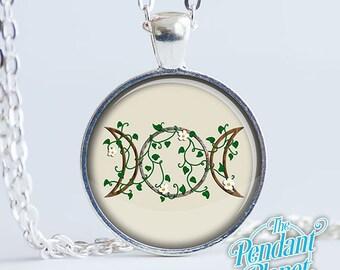 Joyería Wicca, Triplemoon tierra, Pagan joyas, joyería Wicca, pagana colgante, Triple diosa, arte original, arte