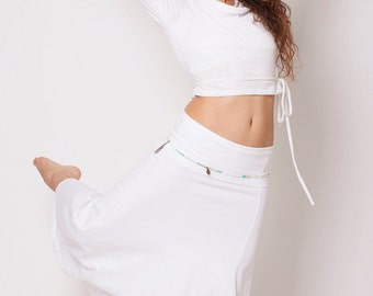 White Gypsy Top ,  Crop Top , Organic Bamboo , Autumn top , White Boho Top , Fairy Pixie top