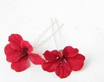 2 x Red Hibiscus Flower Hair Pins Clips Tropical Beach Bridal Wedding Hawaii 193