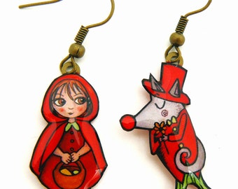 little red riding hood and the wolf earrings